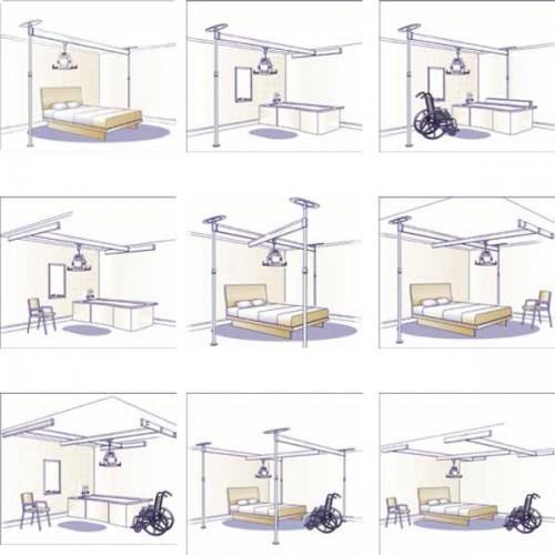 Carriles soportes y postes para grúa voyager