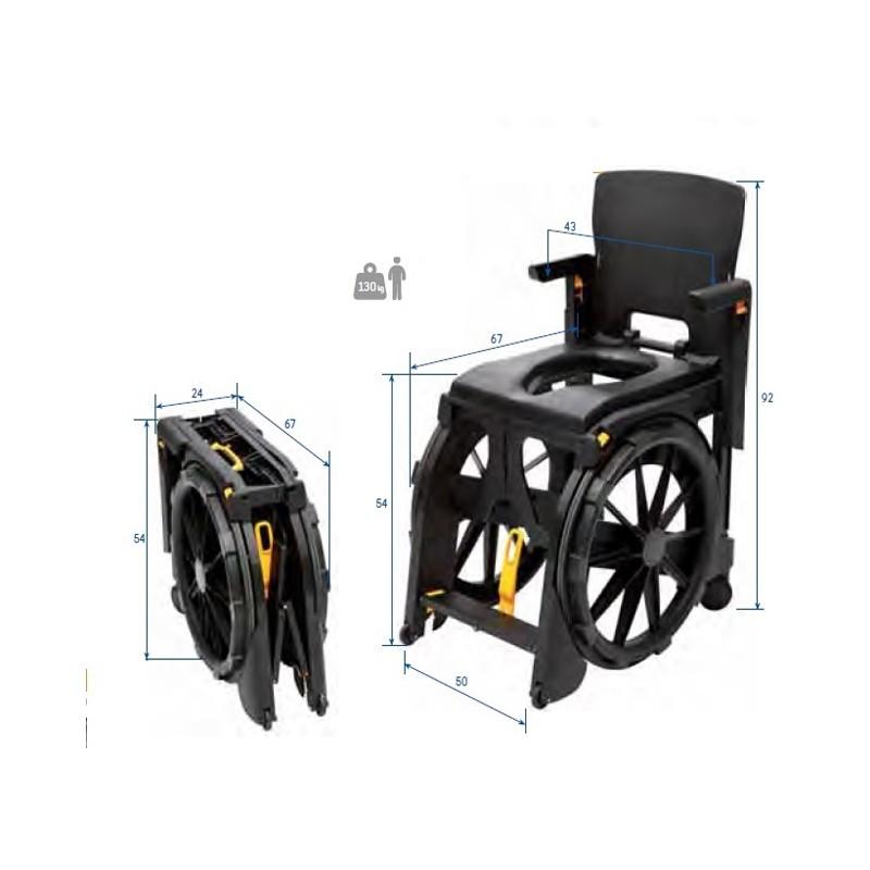 Silla de Ducha Plegable Wheelable
