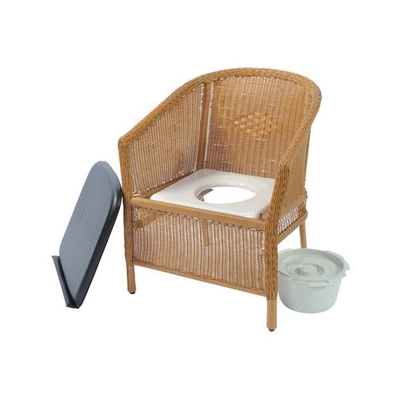 sillón inodoro de mimbre