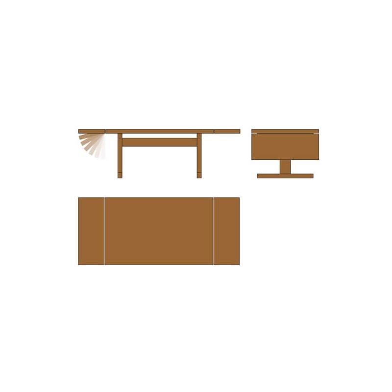 Mesa con Suplementos Laterales Rectangular