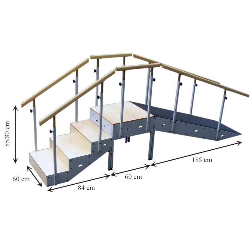 Escalera 4 escalones con Rampa