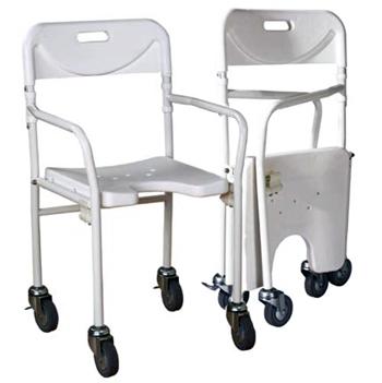 Sillas plegable para ba o con ruedas for Sillas para ducha plegables
